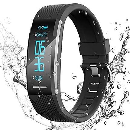 AGPTEK Pulsera de Actividad Inteligente Impermeable IP67, Reloj Deportivo con GPS Podómetro, Monitor de Ritmo, Calorías, Sueño Notificación etc para Hombre Mujer Niños, Negro C11