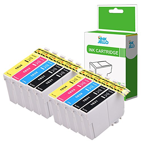 InkJello Compatible Encre Cartouche Remplacement pour Epson Workforce WF-2010W WF-2510WF WF-2520NF WF-2530WF WF-2540WF WF-2630WF WF-2650DWF WF-2660DWF WF-2750DWF WF-2760DWF 16XL (B/C/M/Y, 10-Pack)