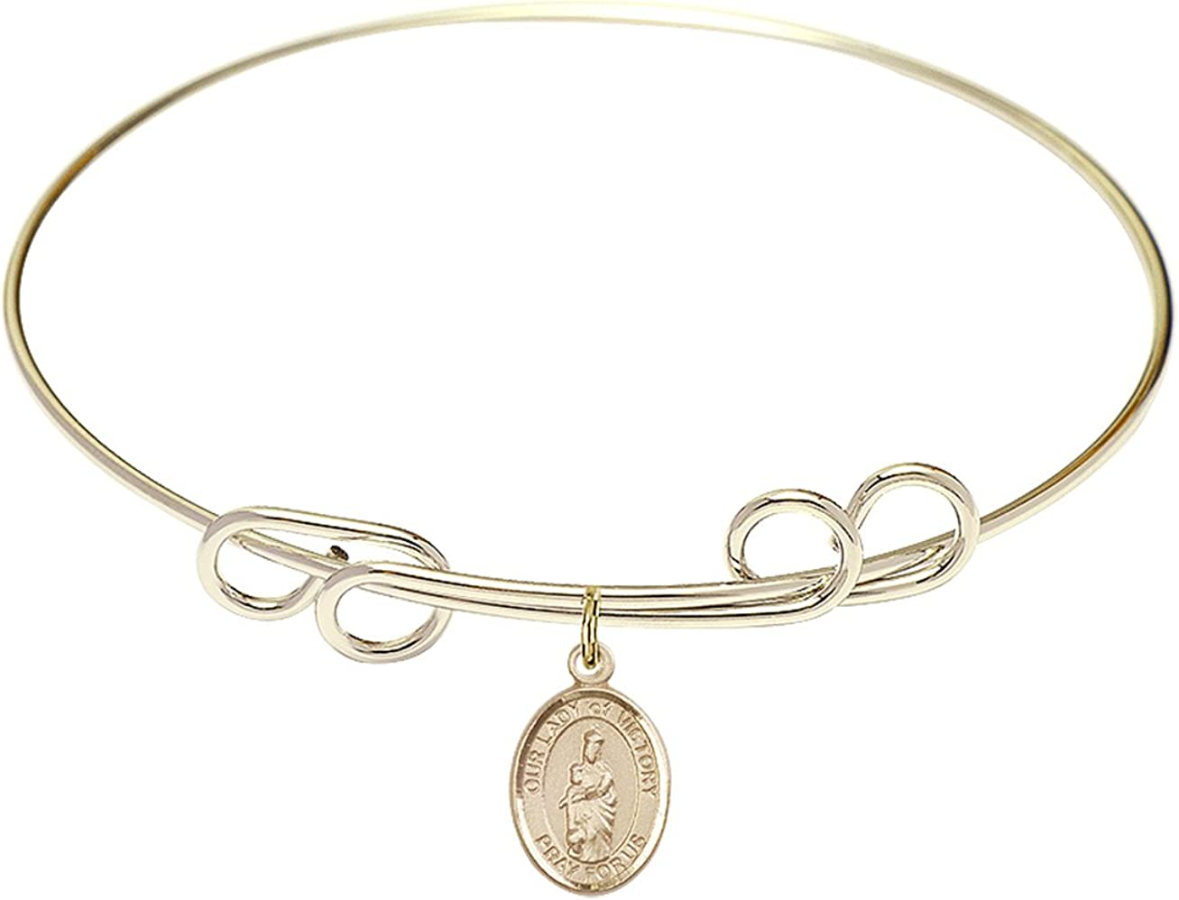DiamondJewelryNY Double Loop Bangle Bracelet with a O/L of Victory Charm.