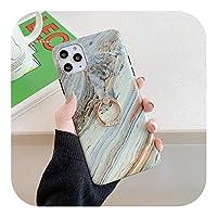 MuuYuu フィンガーリングスタンドfor iPhone 用電話ケース1211 Pro Max XR XS Max 7 8 Plus X SE2020 SoftIMDセラミックブルーマーブルバックカバーFundas-C Ring Stand-for iPhone 12 Pro