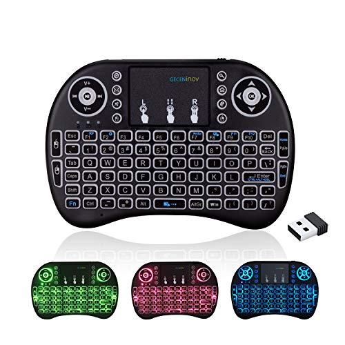 GECENinov Mini teclado inalámbrico USB con panel táctil, 2,4 GHz, retroiluminación de colores, mando a distancia inalámbrico, para Smart TV, PC, TV Box, IPTV