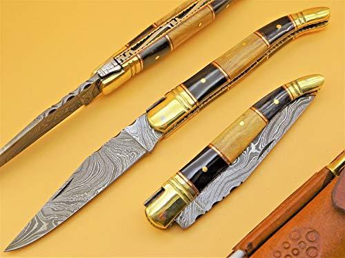 Damastmesser LAGUIOLE-Laguiole Taschenmesser-Damast Taschenmesser - 22cm - (T3sb)