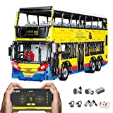 KEAYO Técnica de autobús teledirigido con motores, técnica grande, modelo de autobús de dos pisos, bloque de montaje, compatible con la técnica Lego