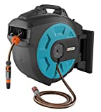 Gardena Wall-mounted Hose Reel 35 Roll-Up Comfort: Swivel Hose Reel, Gardena 35 M Quality Hose, Short Stops, with Wall Bracket, System Parts and Spray Wand (8024-20)