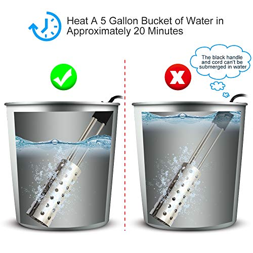 Bucket Water Heater, Kingwork UL-Listed 1500W Immersion Heater with Thermostat and Auto Shutoff, Submersible Bucket Heater with Full 304 Stainless-Steel Guard, Heats 5 Gallons of Water in Minutes