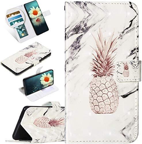 Urhause Kompatibel mit iPod Touch 6 Hülle Karikatur Gedruckt Leder PU Handyhülle Magnetverschluss Standfunktion Handytasche Brieftasche Tasche Kartenfach Etui Wallet Lederhülle Case, Ananas