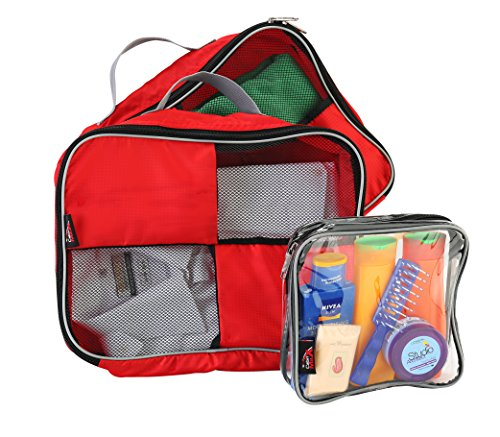 Cabin Max Packing Cubes Holiday Essentials | Perfect Holiday Accessories to Accompany Any Travel Bag to Any Destination | Ideal as a Bag Organiser | Measuring 38x28x10cm (Red)