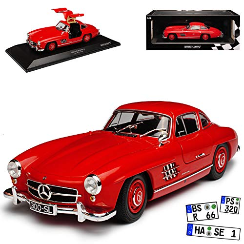 Minichamps Mercedes-Benz 300SL SL-Klasse Coupe Rot W198 1954-1963 Flügeltürer limitiert 300 Stück 1/18 Modell Auto