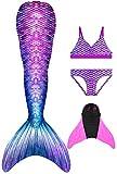 Decool Meerjungfrauenflosse Mädchen Badeanzug - Meerjungfrau Flosse Bademode mit Bikini Set und Monoflosse, 4 Stück Set, Mehrfarbig (A28), 150