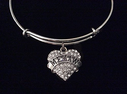 Memaw Crystal Heart Expandable Silver Charm Bracelet Grandmother Adjustable Bangle Gift Grandma
