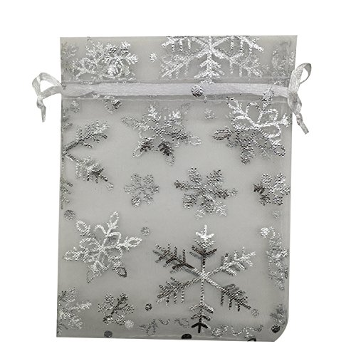 "SUNGULF 50pcs Organza Pouch Bag Drawstring 5""x7"" 13x18cm Strong Gift Candy B6ag Jewelry Party Wedding Favor (Snowflake)"