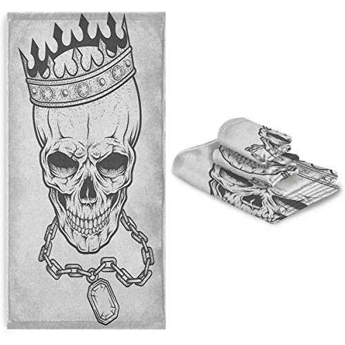 King Face towelEasy to Dry Absorb Water Sketchy Skull with Crown Hip Hop Street Style Necklace Chain Gem Image Print Group Charcoal Grey White