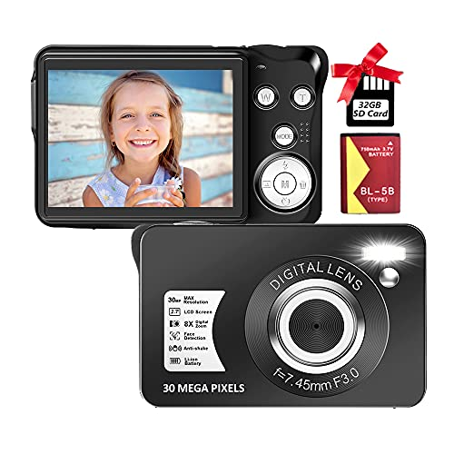 Digital Camera 2.7 Inch 30 Mega Pixels HD Camera Rechargeable Mini Camera Students Camera Pocket Camera Digital Camera with 8X Zoom Compact Camera for Beginner(1 Battery,32GB SD Card Included),Black