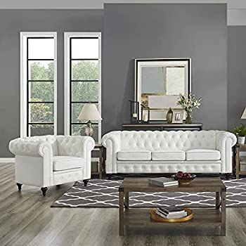 Naomi Home Emery Chesterfield Sofa & Accent Chair with Rolled Arms Tufted Cushions White