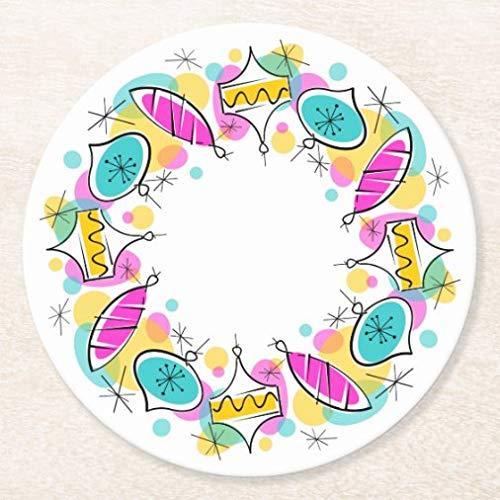Posavasos para bebidas, base de corcho, diseño retro de bolas de árbol circular, juego de 4, alfombrilla para el hogar y la cocina, divertido regalo para el hogar, regalos de Navidad