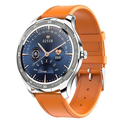 PADGENE Smartwatch, Smartwatch für Männer mit Herzfrequenzmesser, Kalorien, Schlafmonitor, Stoppuhren, Schrittzähler, Activity Tracker für Android/iOS (Orange - PU)