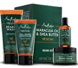 Shea Moisture Complete Beard Kit | All Natural Ingredients | Maracuja Oil & Shea Butter | Beard Balm | Beard Conditioning Oil | Beard Wash | Beard Detangler | Gift Box