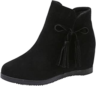 Botines cuña tacón de Plataforma para Mujer Otoño Invierno 2018 PAOLIAN Botas con Flecos Zapatos de Terciopelo Señora Moda Botas Militares clásicas Casual Calzado de Retro Dama Talla Grande