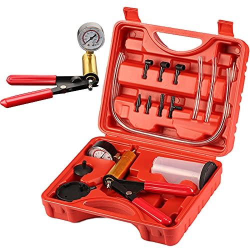 Trintion Vakuumpumpe Bremsenentlüftungsgerät Bremsenentlüfter Set Vakuumtester für Auto Motorrad und LKW Tester,Druckpruft mit Tragetasche   0-30 Zoll Hg / 0-760 mm Hg