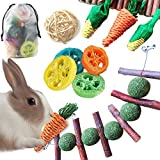Epessa 9 Pack Rabbit Chew Toys Set with Storage Bag, Natural Bunny Toys for Dental Health, Carrot & Corn Chew Toys, Apple Sticks Grass Balls & Loofah Toys Gifts for Rabbit Bunny Hamster Small Animals