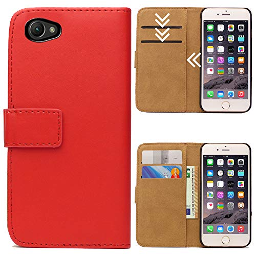 Roar Handytasche für Sony Xperia Z1 Compact, Flipcase Tasche Schutzhülle Handyhülle für Sony Xperia Z1 Compact Bookcase Wallet mit Magnet, Rot