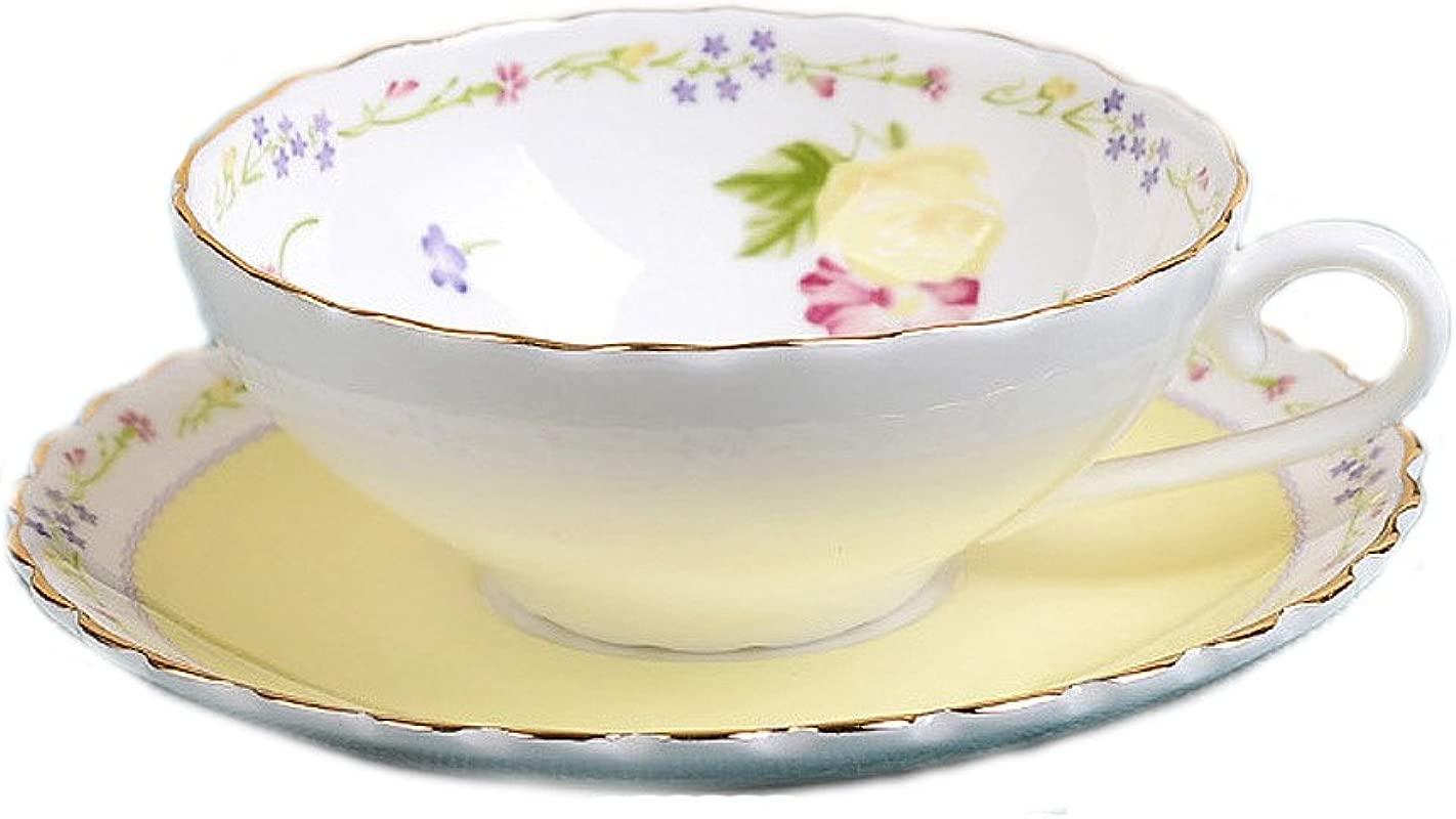123Arts Fine Bone China Flower Butterfly Vintage Chintz Ceramics Coffee Mug Tea Cup With Saucer