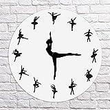 Soulitem - Orologio da Parete con Ballerina e Ballerina orologio rotondo di facile lettura, utilizzato in camera da letto, soggiorno, aula