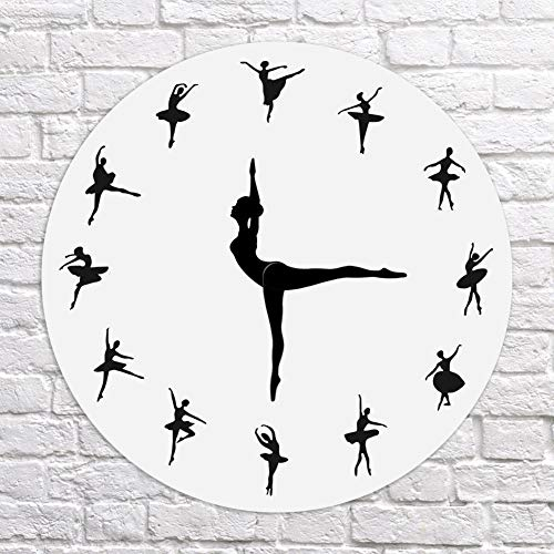 Majome Bailarina Registro Reloj de Pared Baile de Ballet Reloj de Pared Bailarín Decoración para el hogar