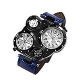 Ingrirt5Dulles Herren-Armbanduhr mit Kompass, wasserdicht, Quarz, für alle Tage, Party, Büro, Reise, Schwarz und Blau