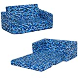Delta Children Cozee Flip-Out Sofa - 2-in-1 Convertible Sofa to Lounger for Kids, Blue Camo