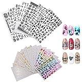 23 Pezzi Trasferimento Ad Acqua 3D Nail Stickers, Nails fai da te Arte Unghie Autoadesivi, Una Varietà di Modelli di Decorazioni per Adesivi per Unghie, Adatto per Unghie, Custodie per Cellulari
