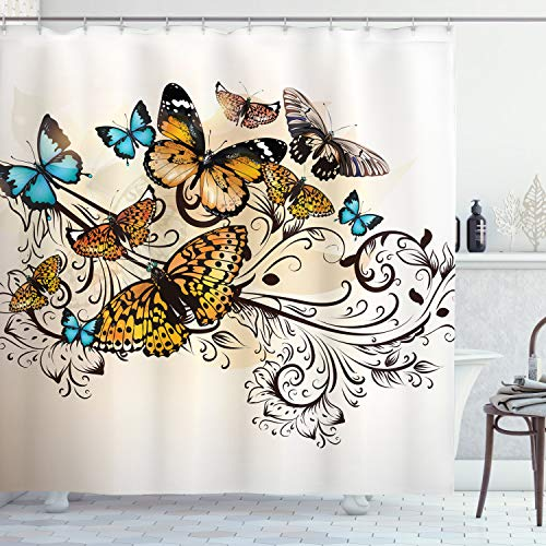 """Ambesonne Butterfly Shower Curtain, Monarch Butterflies Vintage Damask Inspired Design, Cloth Fabric Bathroom Decor Set with Hooks, 84"""" Long Extra, Turquoise and Ecru"""