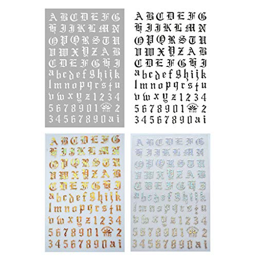 CARRYKT 4Sheets Holographic Letter Nail Art Stickers Old English Alphabet Nail Decals Adhesive Letter 3D Nail Art Stickers for Women Girls DIY Nail Decoration Manicure
