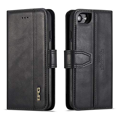 SZCINSEN Cartera vintage para iPhone 6/7/8, funda de piel sintética premium, funda protectora con soporte de observación y 2 soportes para tarjetas (color negro)