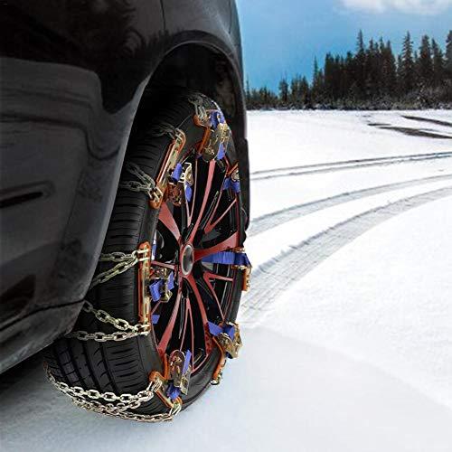 Funnyfeng Cadenas para Nieve Para Neumáticos para Coche Ruedas Universal Emergencia Cadena Antideslizante Manganeso Acero SUV Para Hielo y Nieve Barro Arena Premium Thrifty
