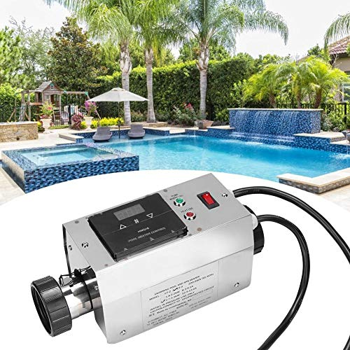 Rosvola 3KW Electric Pool Heater, Waterproof Intelligent Digital Electric Water Heater Thermostat Temperature Controller Pump for SPA Bathtub Swimming Pool