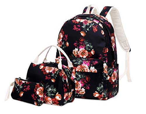 Joymoze Lightweight Cute School Bag with Lunch Tote Bag and Pencil Purse School Bookbag Set Black Flower