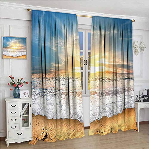 Ocean Decor Collection Room darkened curtain Idyllic Scene of a Sunset with Zippy Waves Moving on to Sand at a Beach Picture Print Insulated room bedroom darkened curtains W84 x L84 Inch Blue Beige Y