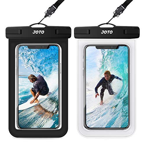 JOTO 2 uds. Bolsa Estanca Móvil Universal, Funda Impermeable para iPhone 12 Mini/Pro/Pro MAX/11/XS/XR/8 Plus/7 Plus, Galaxy Note10+/S20 Ultra/S20+/S10e, Huawei hasta 6,9 Diagonal -Negro/Transparente