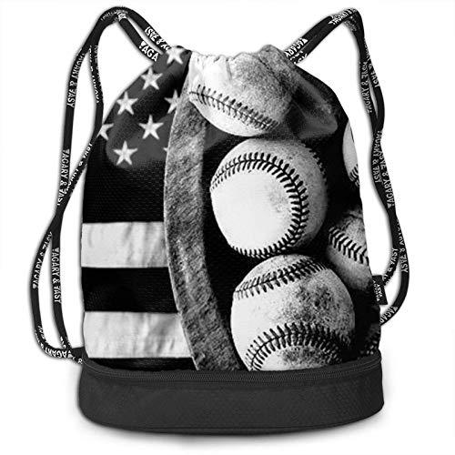 XCNGG Mochila de béisbol Americana con cordón, Mochila Impermeable, Bolsa de Hilo con Estampado, Bolsa de Hilo de Gran tamaño para Adultos, niños, niñas, Deportes, Gimnasio, Yoga