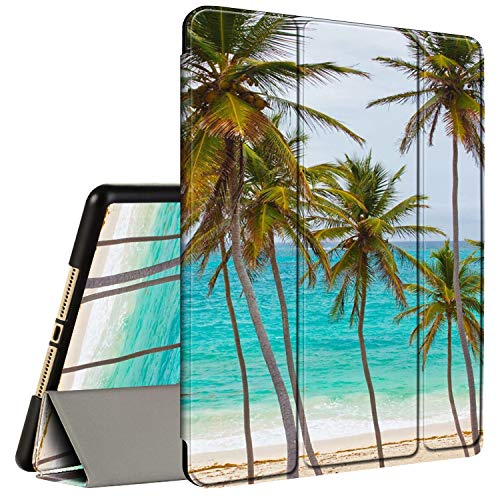 IPad 10.2 Inch Case 2019 7th Generation ipad Case, AMOOK Tri-Fold Smart Cover Stand TPU Protective Case with Pencil Holder for Apple iPad 7th Gen-Tropical Palm Tree on Beach