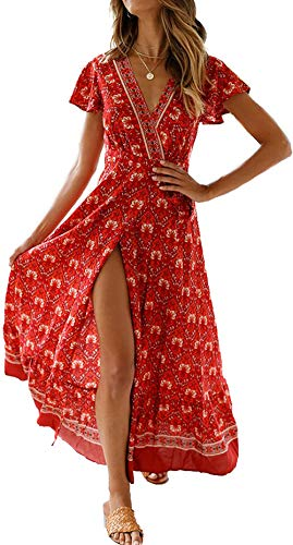 SEMIR Vestidos Sexy con Cuello en v para Mujer Vestido Bohemio con Estampado Floral Estilo étnico Vintage Vestido Largo de Playa Dividida Alta Vino Tinto M