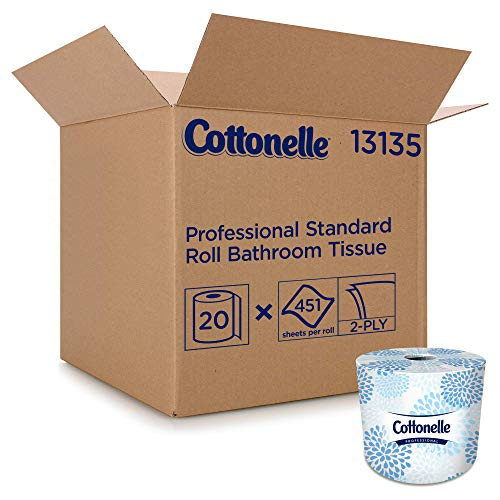 Price comparison product image Cottonelle Professional Bulk Toilet Paper for Business (13135),  Standard Toilet Paper Rolls,  2-PLY,  White,  20 Rolls / Case,  451 Sheets / Roll
