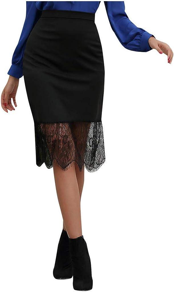 Jiusike Women's Lace Slim Fitting Professional Skirt Casual Mini Skirt Irregular Hem Zipper Back Knee Length Skirt