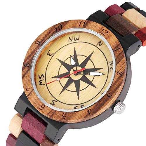 Reloj De Madera Unisex, Reloj De BrúJula De Madera De Moda Creativa para Parejas, Hecho A Mano Natural con Pulsera De Madera Natural, Hombres