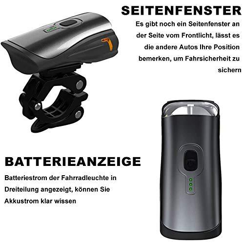 Toptrek Fahrradlicht StVZO Zugelassen, LED Fahrradbeleuchtung Set akku USB Wiederaufladbare OSRAM LED-Licht, umschaltbar zwischen 50/30 Lux, Frontlicht & Rücklicht IPX4 Wasserdicht Fahrradlampe (LF12) - 5