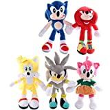 CUINA Soinc Plush Toys 5pcs 27cm Sonic Toys Super Sonic The Hedgehog Plush Toy Sonic Shadow Knuckles Tails Cute Soft Stuffed Dolls Keychain Keyring yuechuang