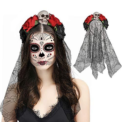 HOWAF Diadema del Da De Muertos con Rosas Rojas, Calavera y Velo, Tamao nico, Mexicano Diadema de Flores Catrina, Accesorio para Disfraz de Halloween Mujer