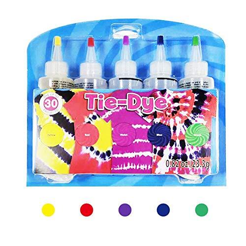 Batik-DIY-Set, 5 Farben, Batik-Hemd, Stofffarbe für Damen, Kinder, Herren, mit Gummibändern, Handschuhen, Kunststofffolie für Familie, Freunde, Gruppen, Partyzubehör