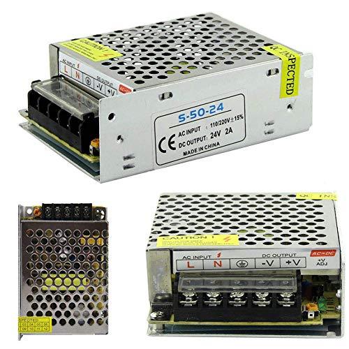 Iriisy Convertidor de Conmutación, Fuente de alimentación conmutada LED AC 110V-220V a DC 12V 24V 1A 2A 3A 5A 10A 15A 20A Adaptador de controlador Tira de luz LED (50W)